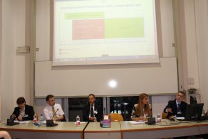 Alexander Makaronidis, Head of Task Force EPSAS; Ian Carruthers, Chair, IPSASB; Nils Soguel, Chair, Swiss Public Sector Financial Reporting Advisory Committee; Susana Jorge, member, National public sector accounting standard-setting committee, Portugal; Sandra Cohen, Athens University of Economics & Business